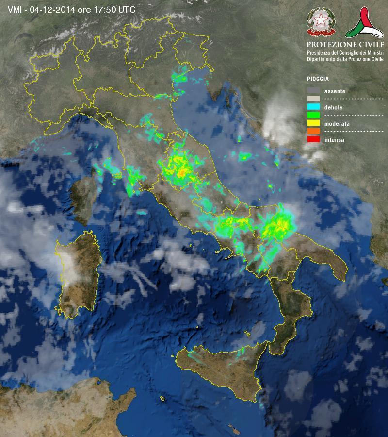 Situazione meteo in atto: temporali sparsi al Centro Sud
