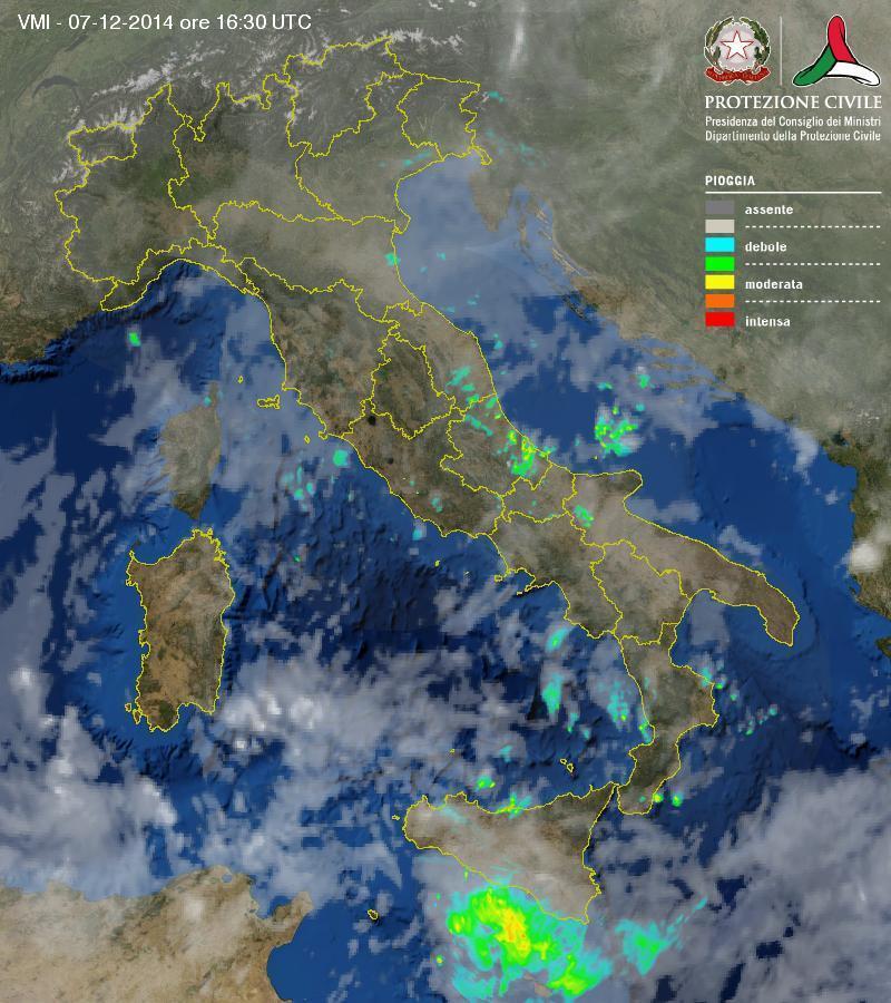 Situazione meteo in atto: piogge e rovesci lungo le adriatiche, temporali in Sicilia