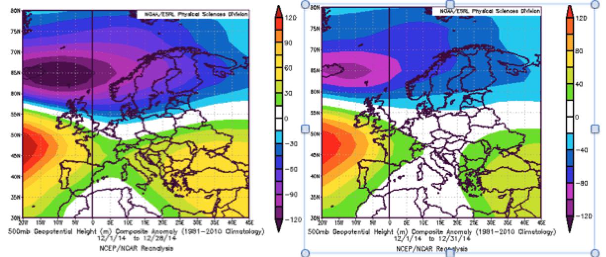 Clima - Plot del mese di dicembre senza irruzione gelida (sx) e con (dx)