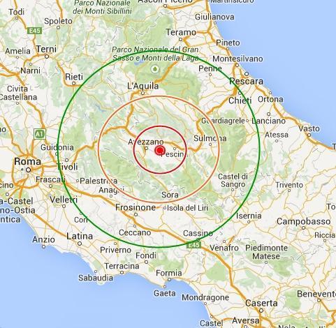 Cartina Italia Terremoti.Paura Al Centro Italia Terremoto In Abruzzo Con Epicentro Fra Avezzano E Pescina
