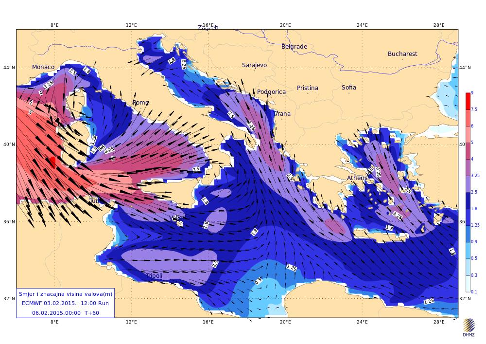 Venti di burrasca e onde fino a 7 metri - Mappa elaborata da DHMZ