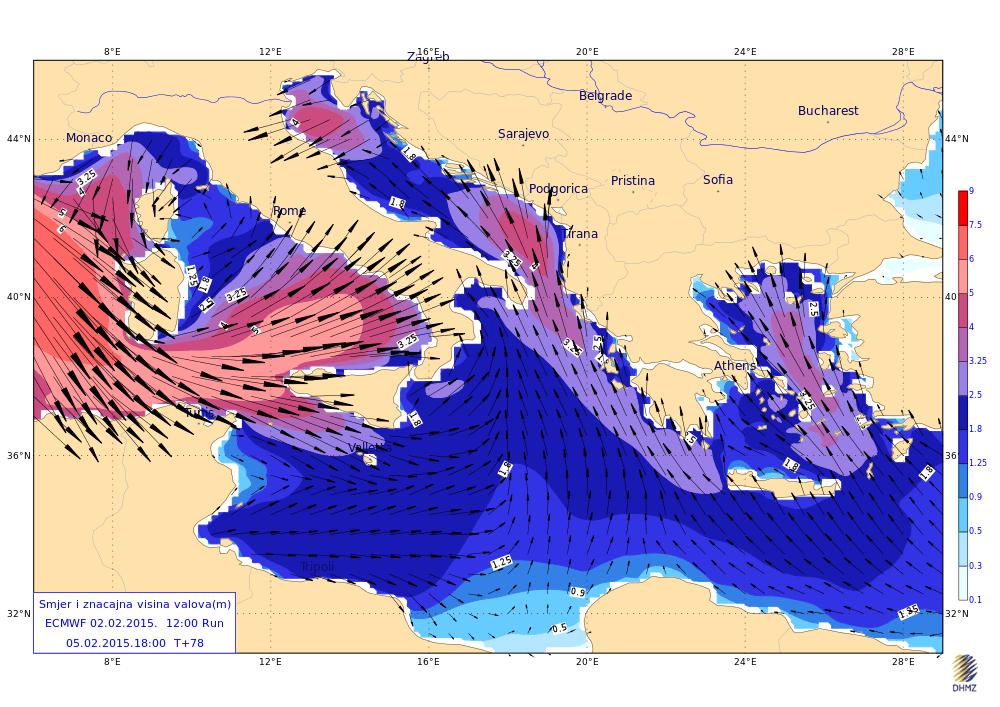 Oltre la neve, intense mareggiate interesseranno le coste del Nord Est - Mappa by DHMZ