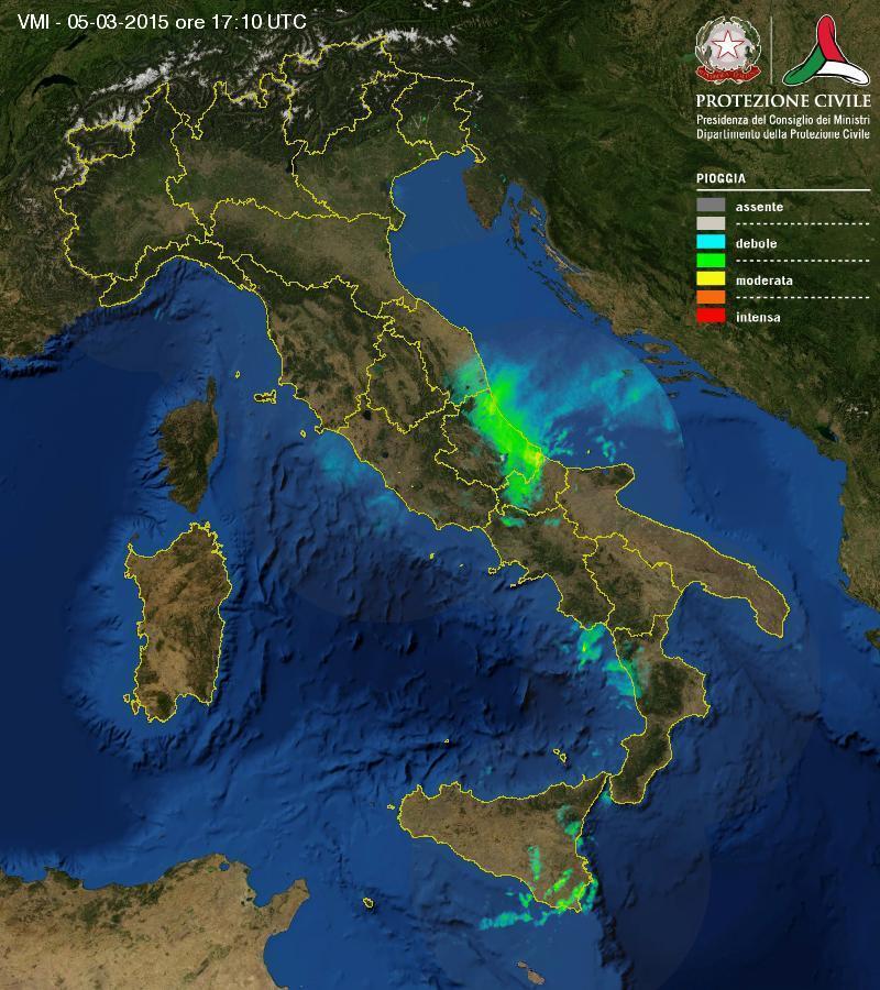 Situazione meteo in atto: forte maltempo sulle regioni centrali