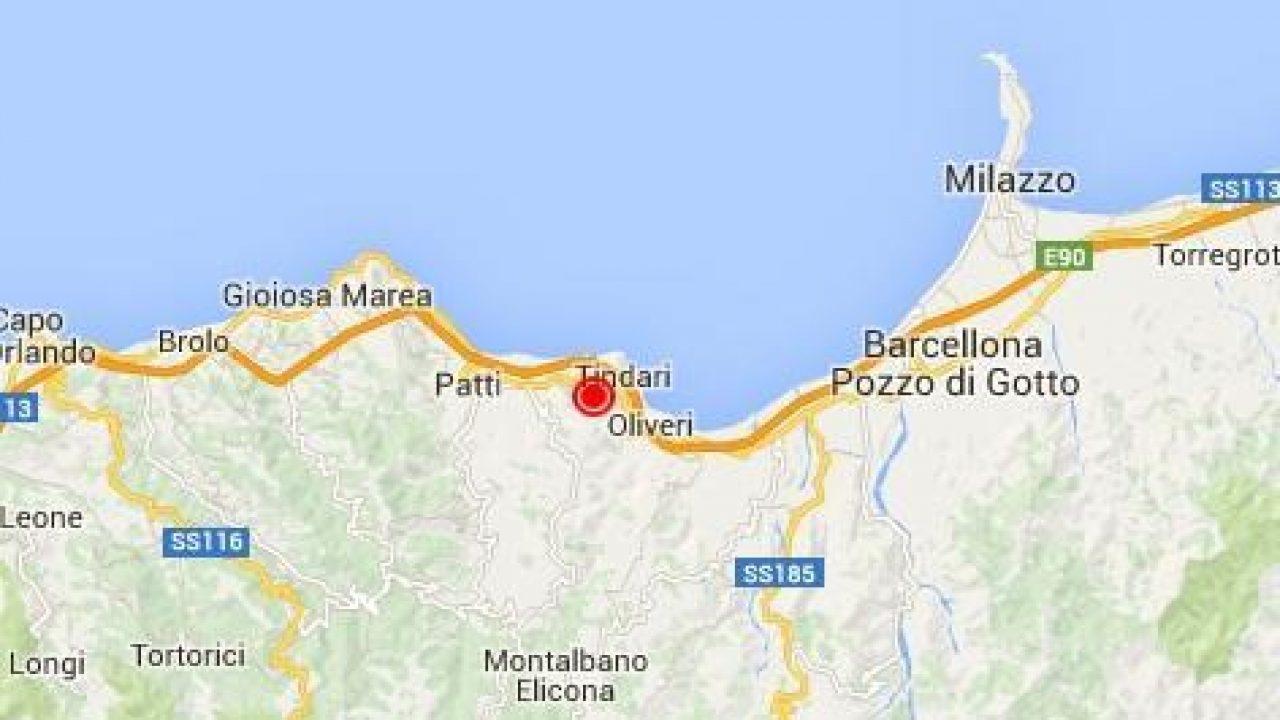 Cartina Sicilia Tindari.Terremoto Sicilia Oggi Scossa Avvertita Nella Zona Di Patti Tindari Oliveri Messina