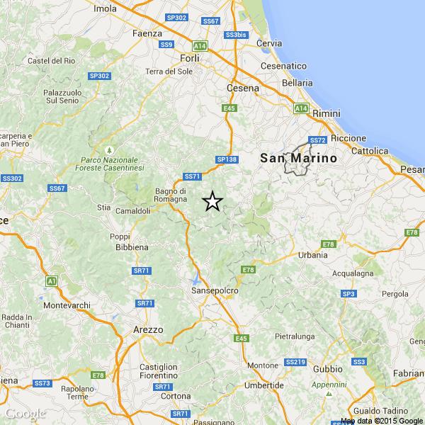 Terremoto romagna oggi debole scossa fra verghereto sant 39 agata pennabilli bagno di romagna - 3b meteo bagno di romagna ...