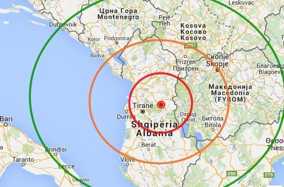 Intenso terremoto in albania scossa avvertita in puglia for Ingv lista terremoti di oggi