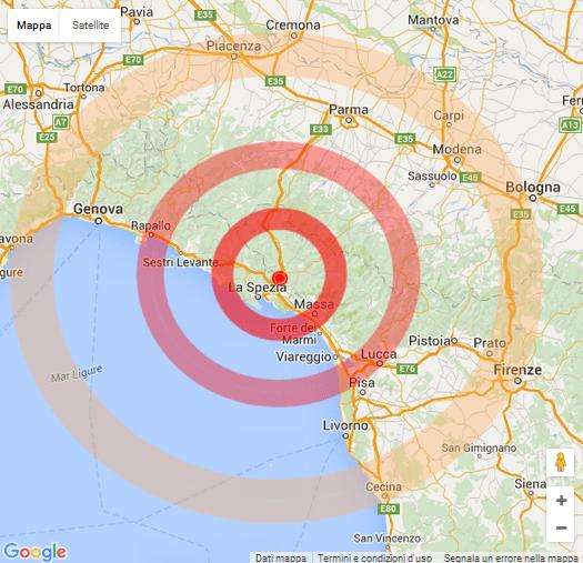Trema lo Spezzino alle 16.37 scossa di magnitudo 4.0