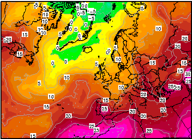 GFS - Wetterzentrale.de : nel weekend a stretto contatto aria fresca sul centro Europa e aria calda sul Mediterraneo Occidentale