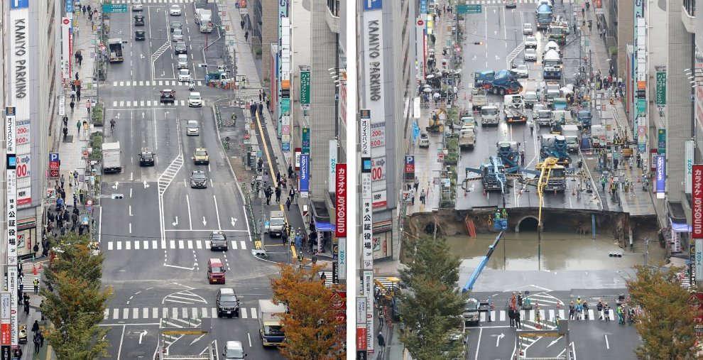 Giappone, la voragine gigante riparata in 48 ore