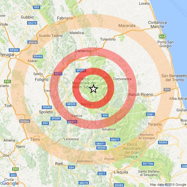 Terremoto, scosse nella notte nel centro Italia fino a 3.5