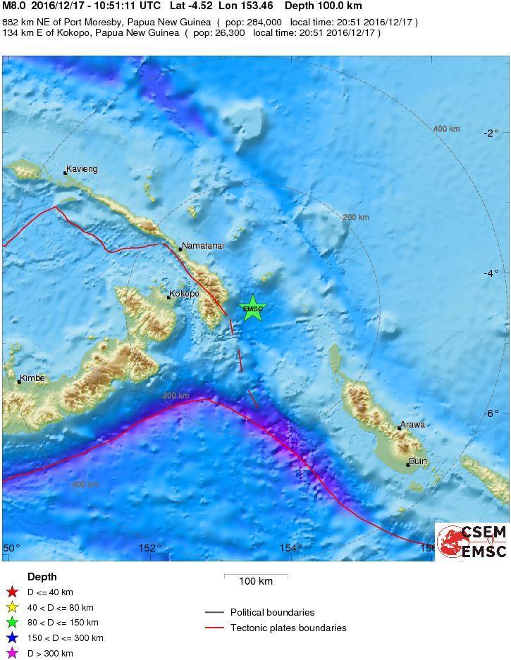Terremoto 7.9 davanti all'isola di Nuova Irlanda, Papua Nuova Guinea: allerta tsunami