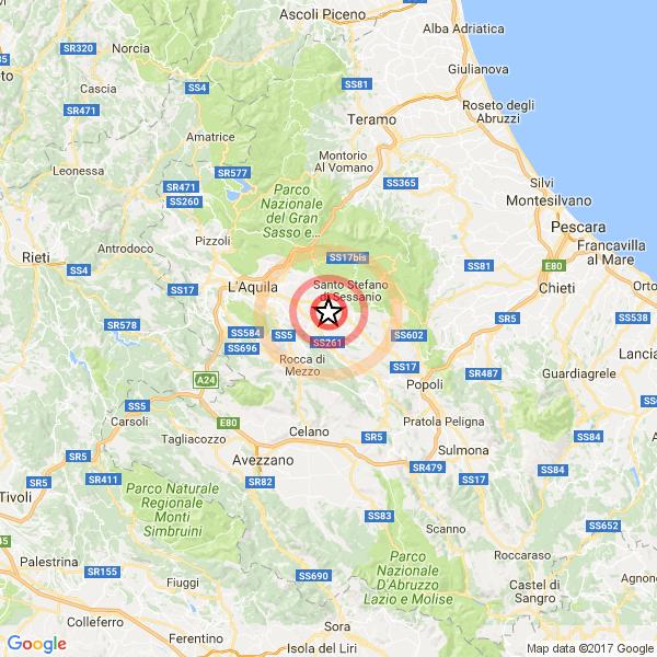 Nuova scossa in Abruzzo Magnitudo 3.9 a Pizzoli