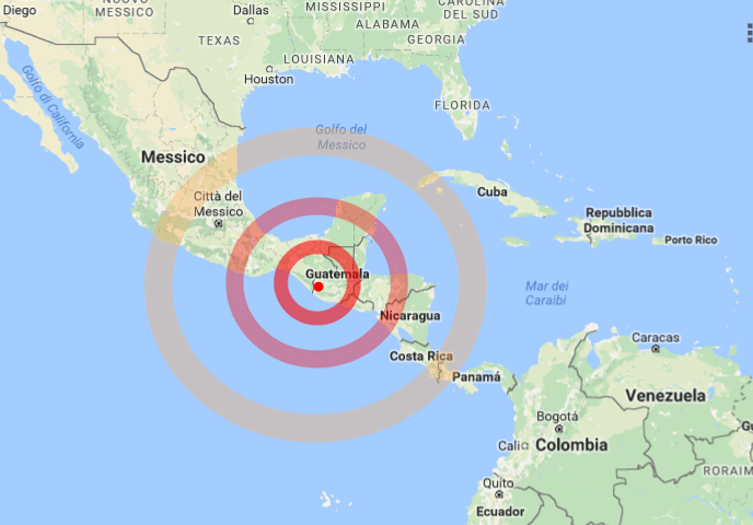 Sisma di magnitudo 6.9 in Guatemala