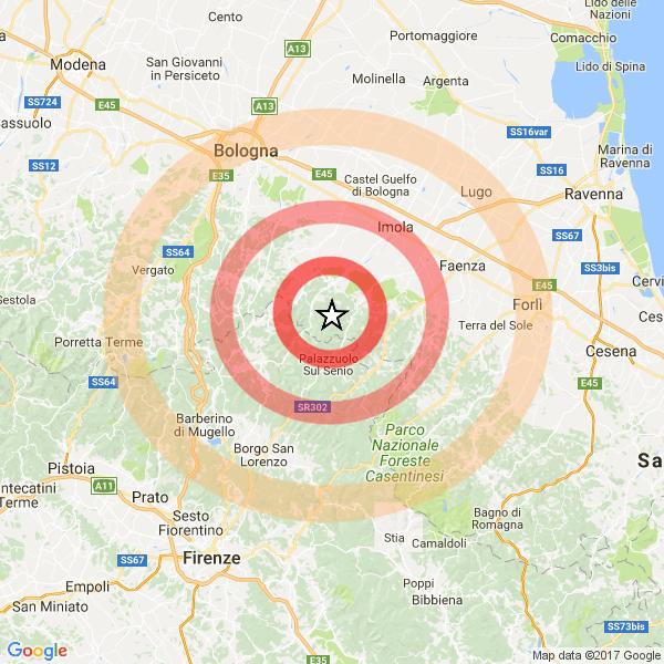 Bologna, violenta scossa di terremoto nella notte: magnitudo 3.7