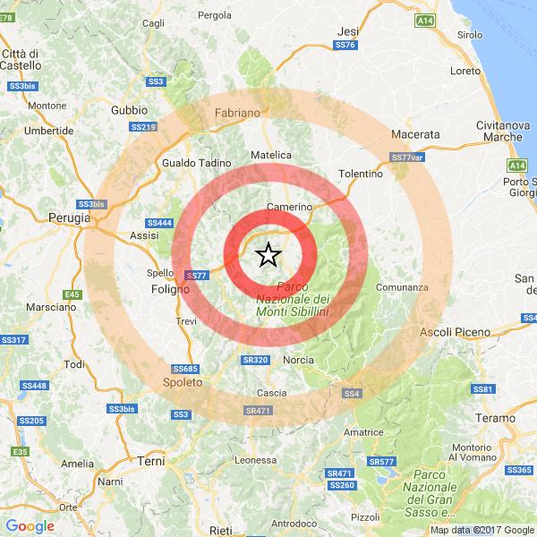 Terremoto: rilevate 18 scosse a Macerata, la più forte di magnitudo 3.5