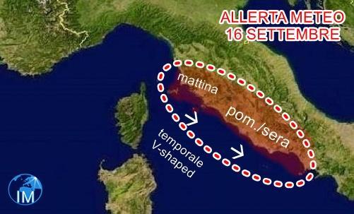 previsioni meteo , allerta temporale V-shaped domani al centro Italia
