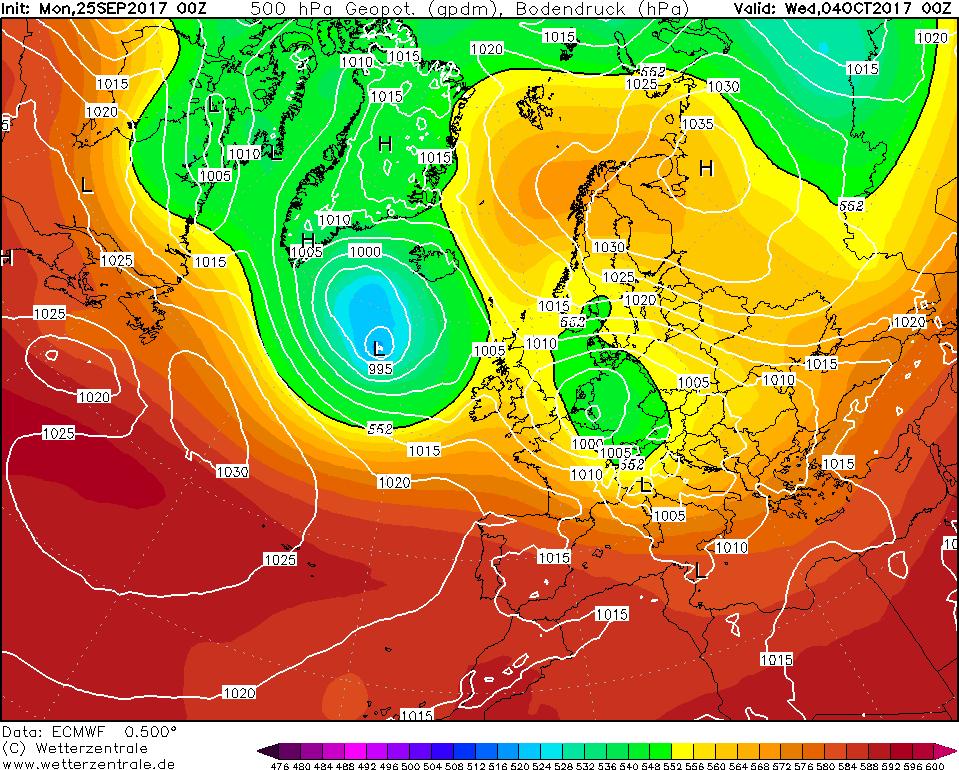 Previsioni meteo per ECMWF, centro meteo europeo: inizio ottobre perturbato