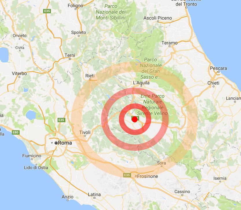 Terremoti, scossa 3.9 nella Marsica