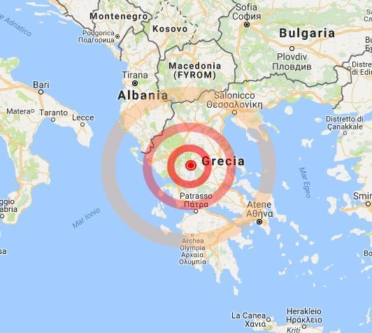 Risultati immagini per cartina terremoto grecia
