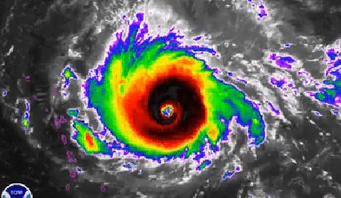 uragano Irma visto dai radar nella sua massima potenza (categoria 5)