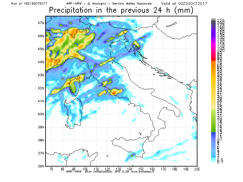 Precipitazioni attese per la nuova perturbazione di Giovedì 19. Molte piogge al Nord Ovest, possibili forti temporali sul medio Tirreno