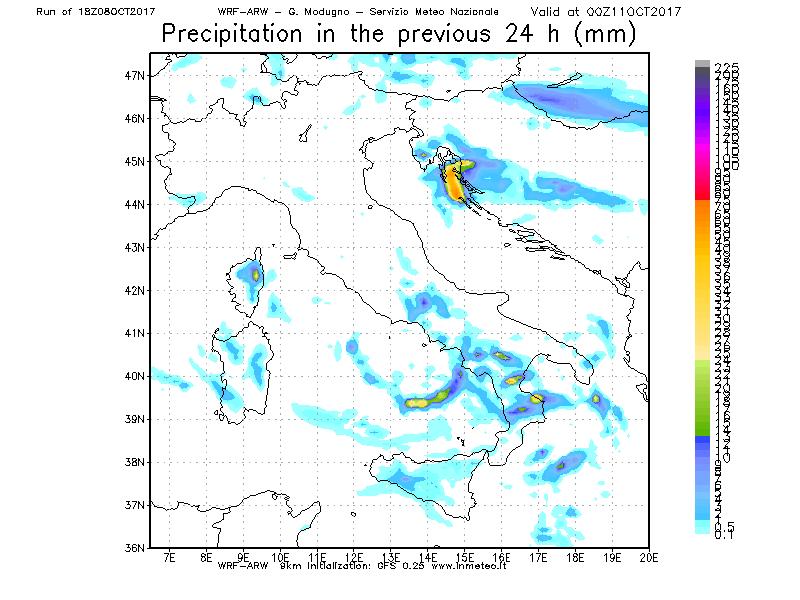 Precipitazioni attese per Martedì 10 Ottobre