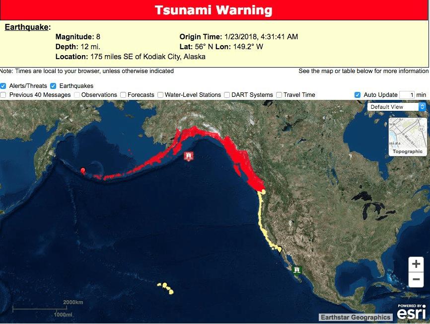Terremoto 8.2 in Alaska, allarme tsunami