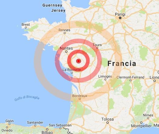 Terremoto in Francia, scossa di magnitudo 4.8 vicino Fontenay le Comte