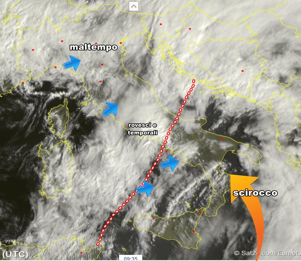 Domenica venti di burrasca al Sud, temporali su basso Tirreno