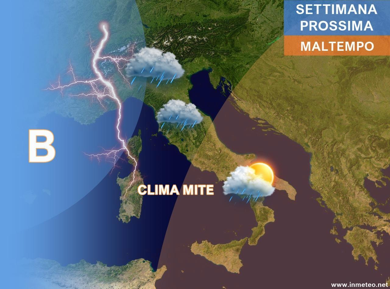 METEO ITALIA. Torna il maltempo dalla serata, piogge e rovesci anche temporaleschi