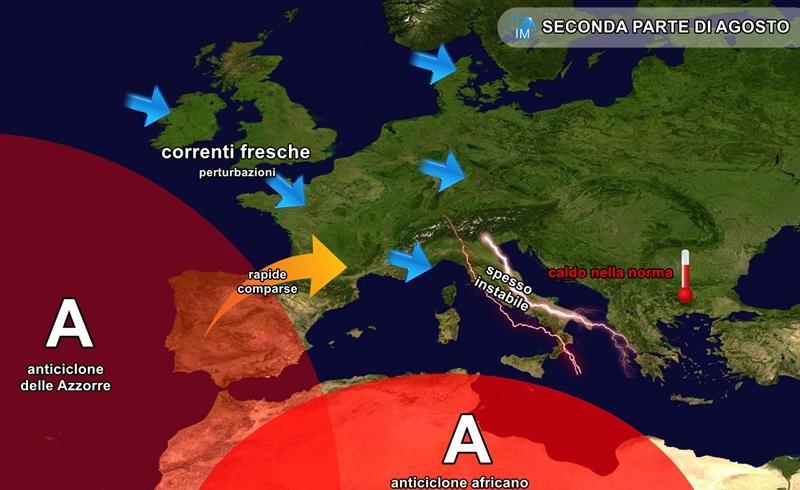 previsioni meteo agosto maltempo temporali caldo