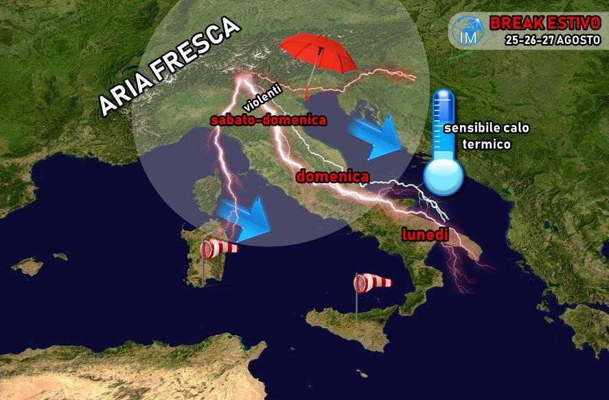 previsioni meteo break estivo autunno estate agosto fresco temporali caldo