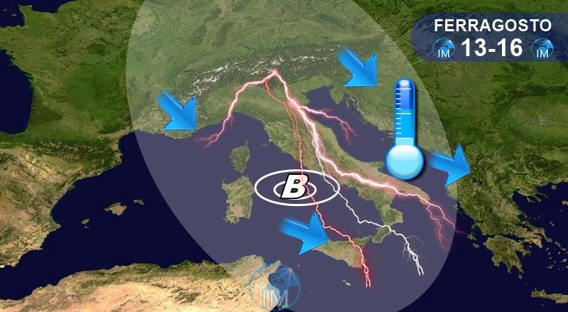 previsioni meteo ferragosto maltempo caldo afa temporali