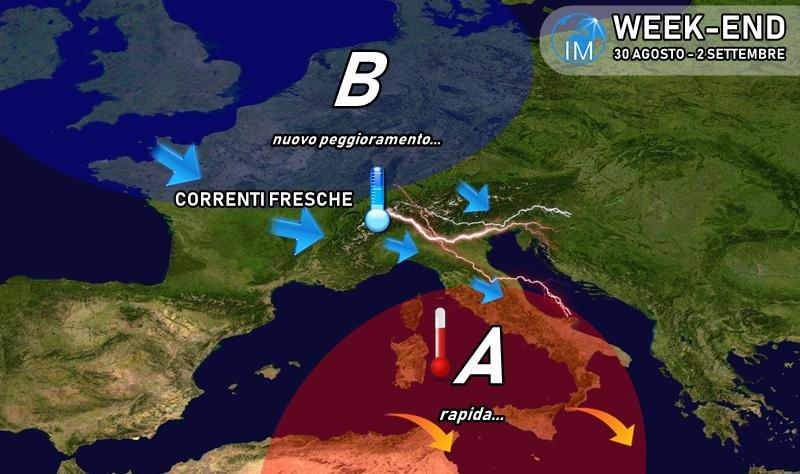 previsioni meteo week end caldo maltempo pioggia