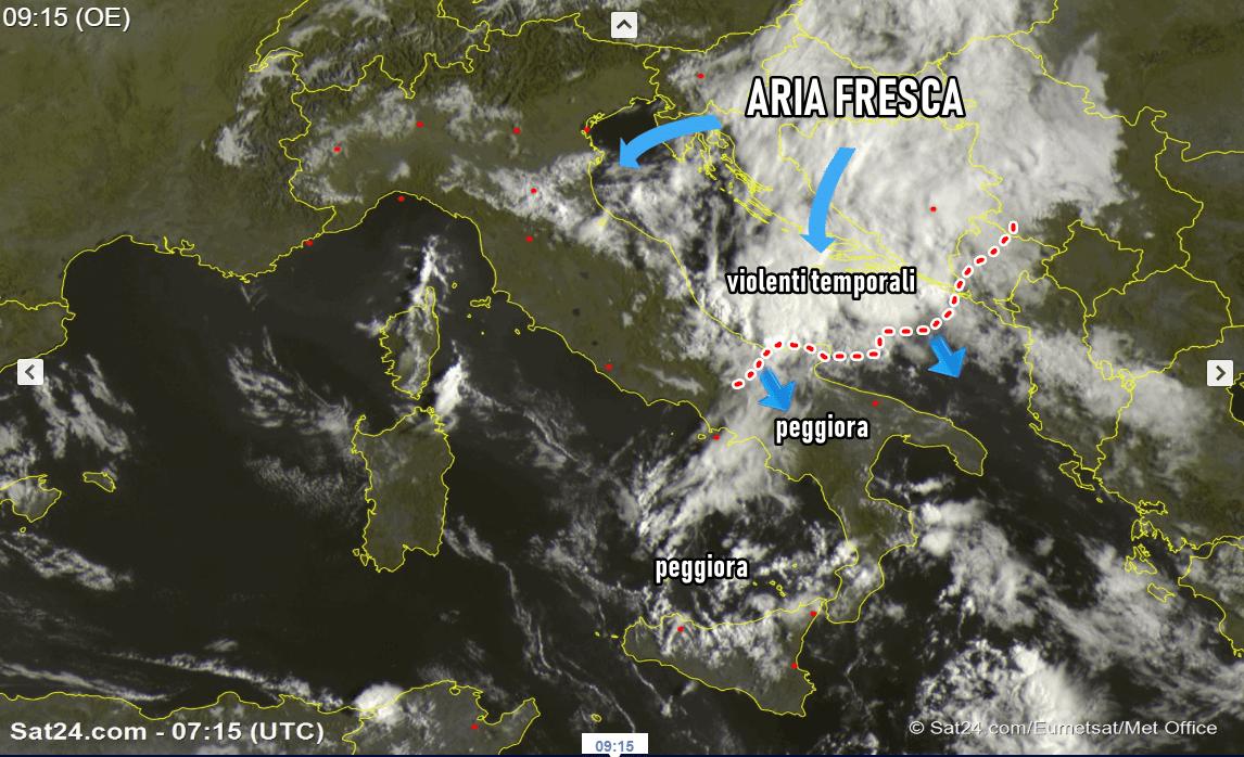 Meteo, allerta gialla anche in Friuli per temporali forti e grandine