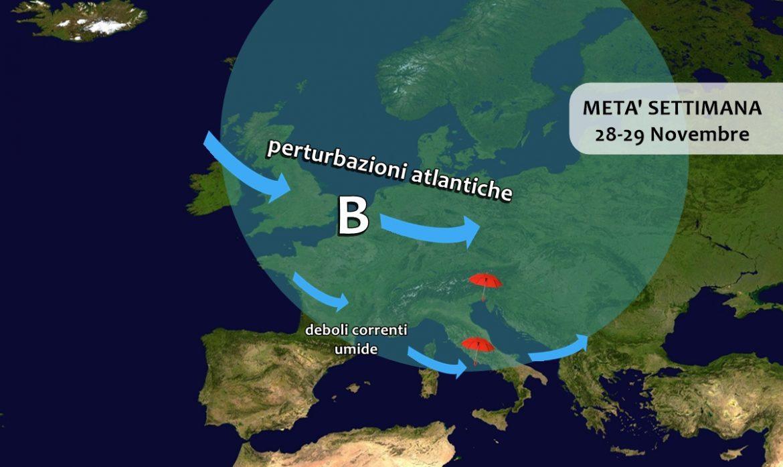 Le previsioni meteo di mercoledì 27 novembre