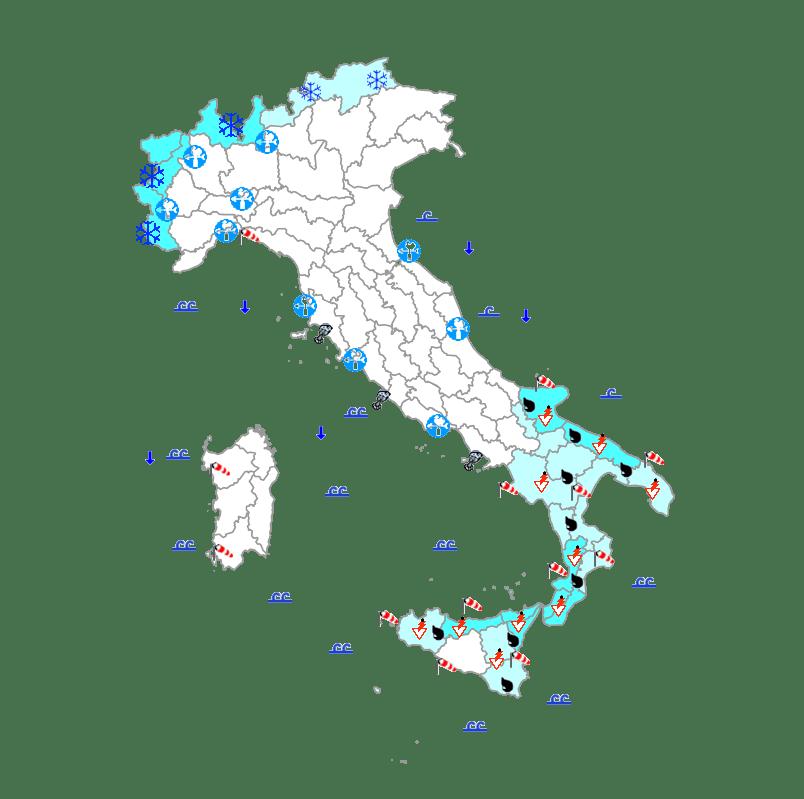 Le previsioni del meteo in Italia per oggi, lunedì 23 dicembre 2019