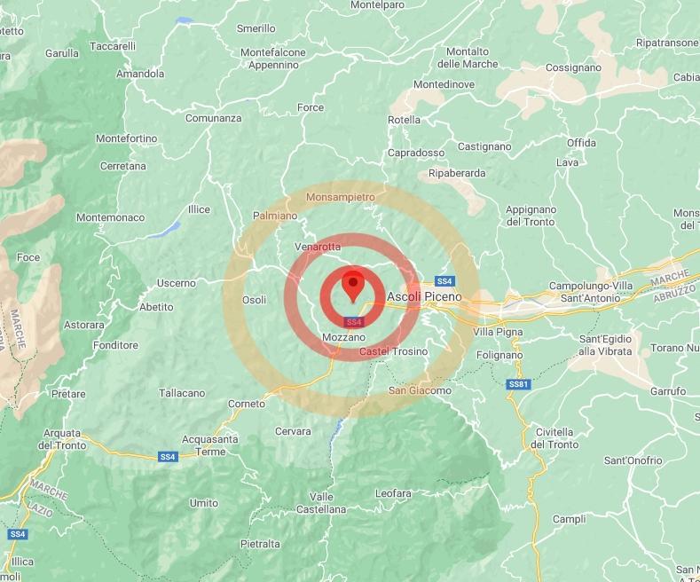 Lieve scossa di terremoto avvertita ad Ascoli Piceno